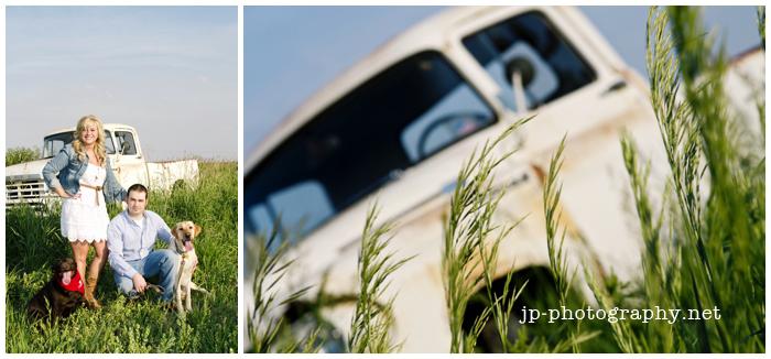 truck, toledo engagement session, gibsonburg,ohio, white eyelet dress,cowboy boots