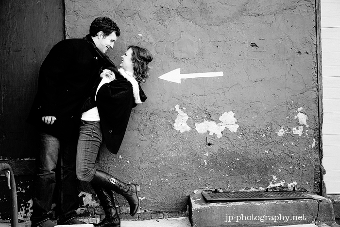 urban engagement session, winter engagement, downtown Toledo, boots