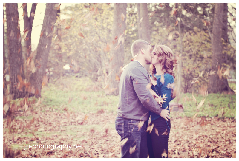 fall engagement session, fall leaves, colorful portrait session, toledo botanical gardens