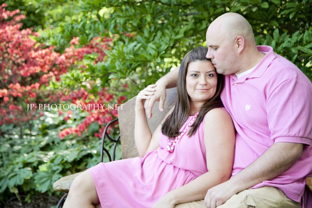 pink, engagement session, botanical gardens, bright flowers