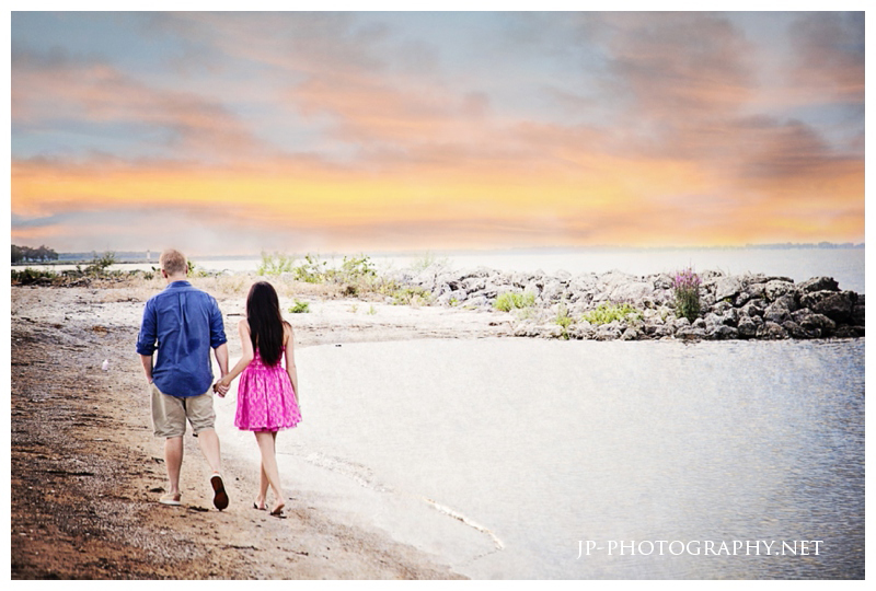 beach engagement, canoe boat, pink dress, sand, maumee bay, sunset