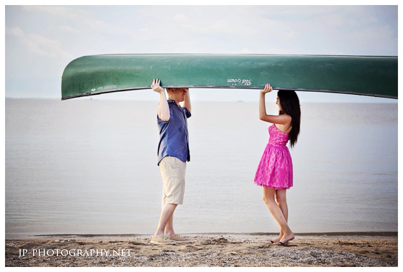 beach engagement, canoe boat, pink dress, sand, maumee bay