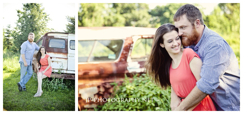 farm engagement session, rusty car, coral dress