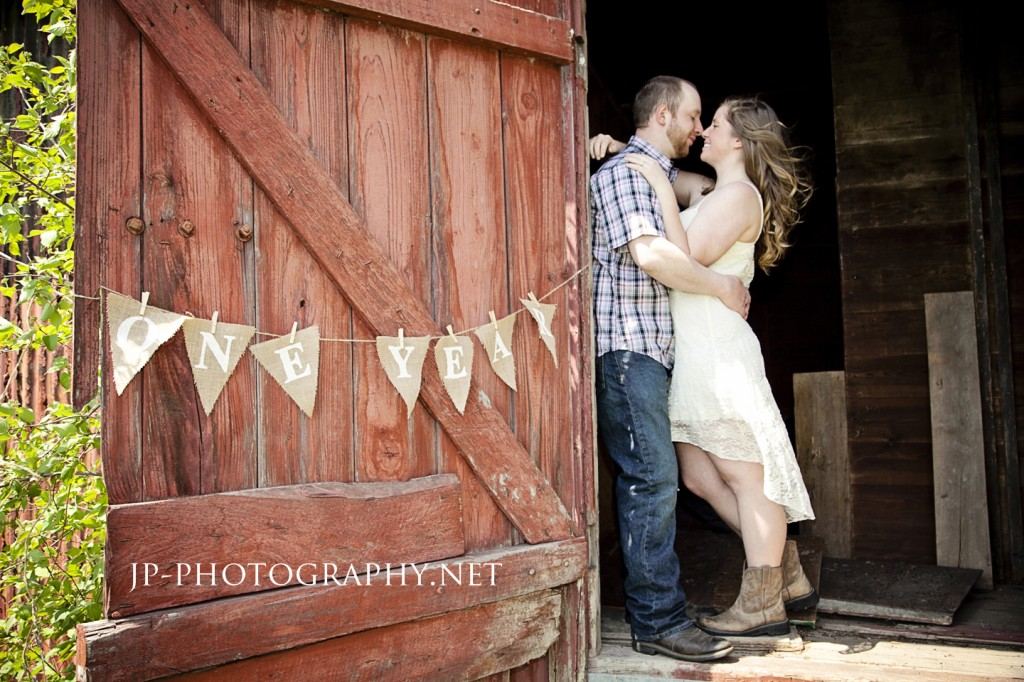 One Year Anniversary Shoot Country Session Engagement Style Burlap Cow Boots